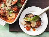 Aubergine bake with tomatoes, parmesan and mozzarella
