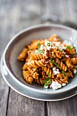 Fusilli with mince and feta (Turkey)