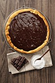 Chocolate pie on a cooling rack