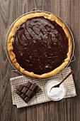 Schokoladenpie auf Abkühlgitter