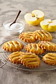 Apple tarts on a cake rack