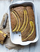 Gluten-free cake buckwheat and banana cake with brown sugar
