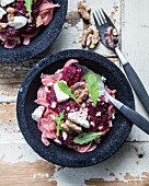 Gluten-free beetroot pasta with feta, rocket and walnuts