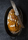 Homemade carrot bread with a knife