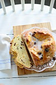 Easter bread with raisins and a sugar glaze