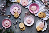 Pink jasmine and coconut jelly with biscuits