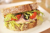 Mackerel Mayo Sandwich with dried tomato olives, red onions and salad