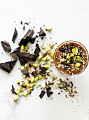 Dark chocolate Smoothie with cacao nibs, pistachios and hemp seeds