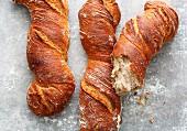 Crusty twisted bread sticks