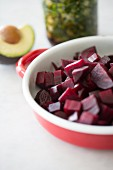 A beetroot salad and a spring onion salad