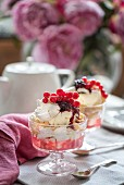 Eton mess with rhubarb, berries and meringue