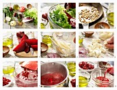 A salad with Nashi pear, pomegranate seeds, feta and beetroot being made