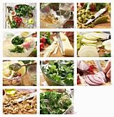 Feldsalat mit Emmentaler, Walnüssen und Honig-Senf-Dressing zubereiten