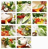 Kabeljau auf Gemüsesalat mit Paprika, Gurke, Tomaten und Kräutern zubereiten