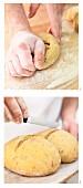 Rosmarin-Tomaten-Brot formen und einritzen