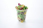 Mixed leaf salad with chicken in a takeaway cup