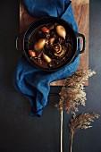 Boeuf bourguignon in a casserole dish