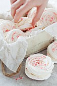 Candy Cane Peppermint Meringue Sandwiches