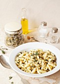 Pasta tossed with Hazelnut Thyme Pesto