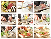 Carpaccio vom Rinderfilet mit Champignons, Rucola und Parmesan zubereiten