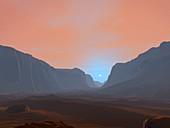 Sunrise over a Martian canyon, illustration