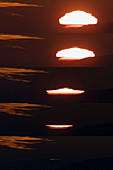 Blue and green flashes at sunset, montage sequence