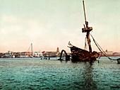 Wreck of USS Maine in Havana, circa 1900
