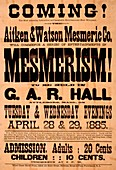 Mesmerism show poster, 1885