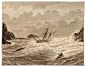 Lifeboat approaching a wreck, Padstow.tif