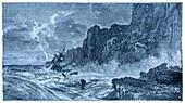 Storm at sea and shipwreck
