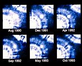 Ultraviolet HST images of supernova SN 1987A