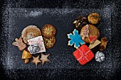 Various Christmas cookies on a dark background