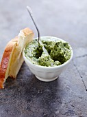 Herb butter spread with sliced white bread