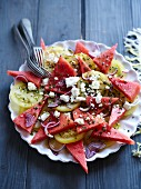 Watermelon salad with tomatoes and feta
