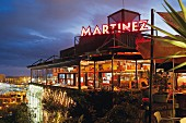 The 'Terraza Martinez' restaurant with views of the harbour in Barcelona, Spain