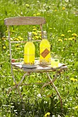 Orange and honey lemonade in swing-top bottles and wreaths of flowers on vintage chair in garden