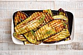 Grilled aubergines (top view)