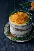 Orange Caramel Rosemary Layer Cake