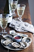 Oyster Plate with Mignonette Sauce and White Wine