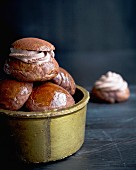 Chocolate buns with chocolate cream