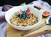 Oatmeal with dates, blueberries, figs and pumpkin seeds