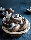Portobell mushrooms in wooden bowl