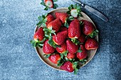 A plate of strawberries