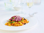Smoked duck breast with lentils, carrots and lemongrass