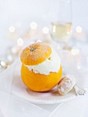 An orange stuffed with ice cream (Christmas)