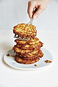 A stack of potato fritters