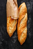 Crusty rustic-style baguettes with quark