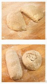 Twice-baked sourdough bread being shaped