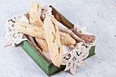 Spelt salt sticks in a wooden box with a doily
