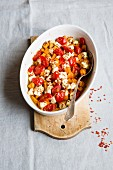 Sweet potato bake with cherry tomatoes and feta